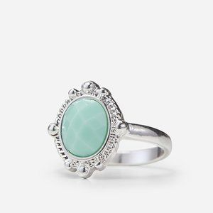 Silver & Turquoise Stone Ring Size M